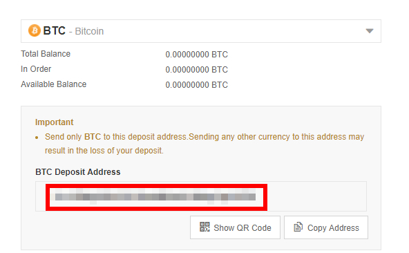 BTC Deposit Address
