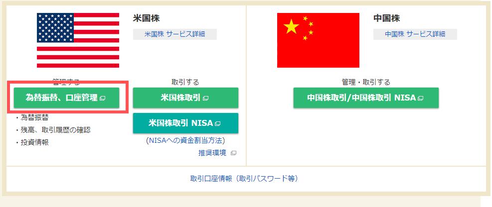 マネックス証券の外国株画面